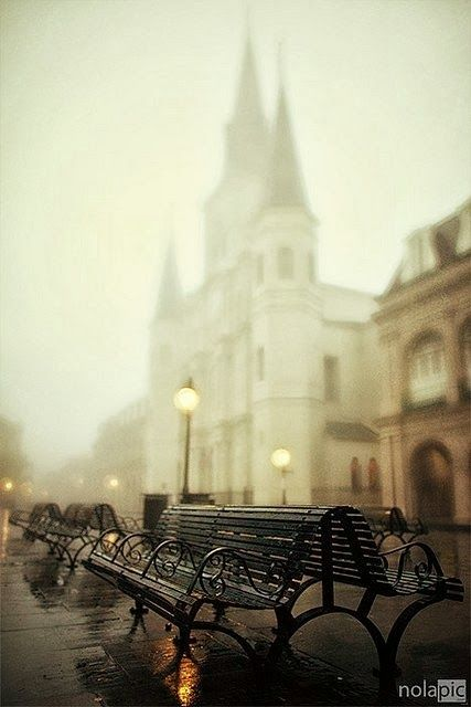 French Quarter New Orleans - love the benches, street lights & the St. Louis Cathedral in the mist.