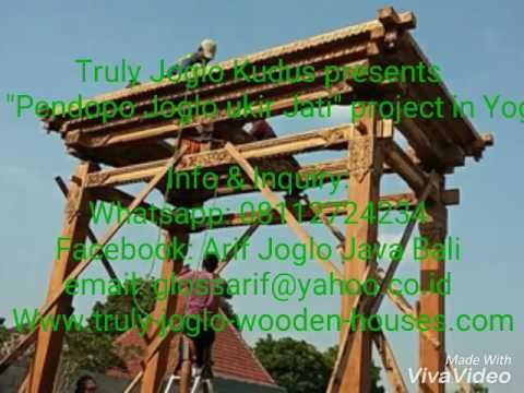 """A """"pendopo joglo ukir"""" in Yogyakarta by Truly Joglo Kudus. Javanese Joglo house made of recycled teak. Situated in the front yard of the house."""