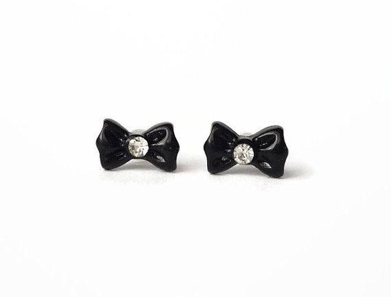 Black bow tiny stud earrings with rhinestone, elegant basic style by treasurecreator, $8.00