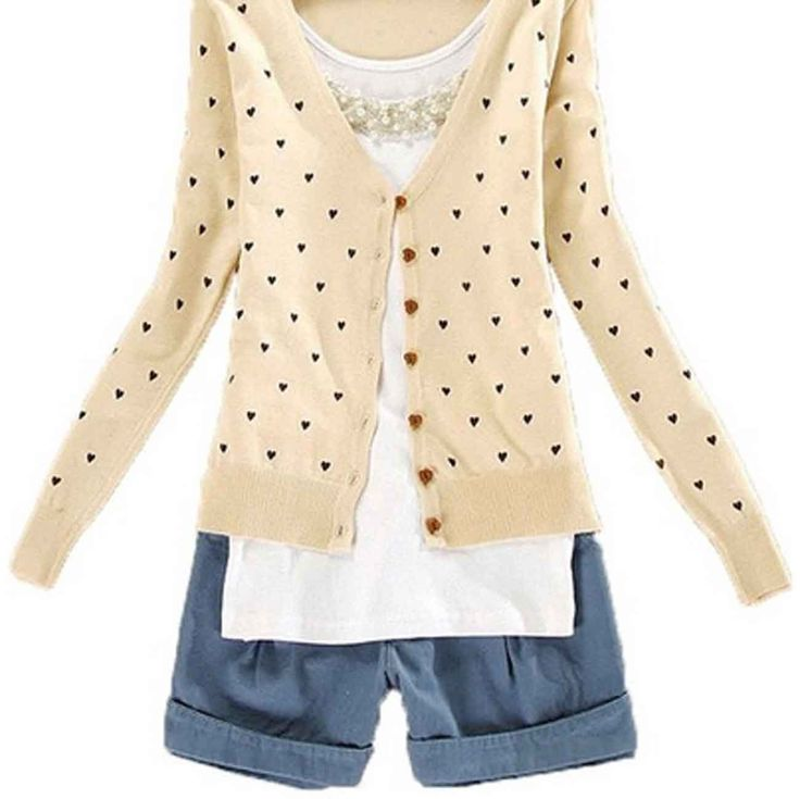 Women Cute Button Down Heart-Shape Pattern Casual Knitted Cardigan Sweater Tops (Green) at Amazon Women's Clothing store: