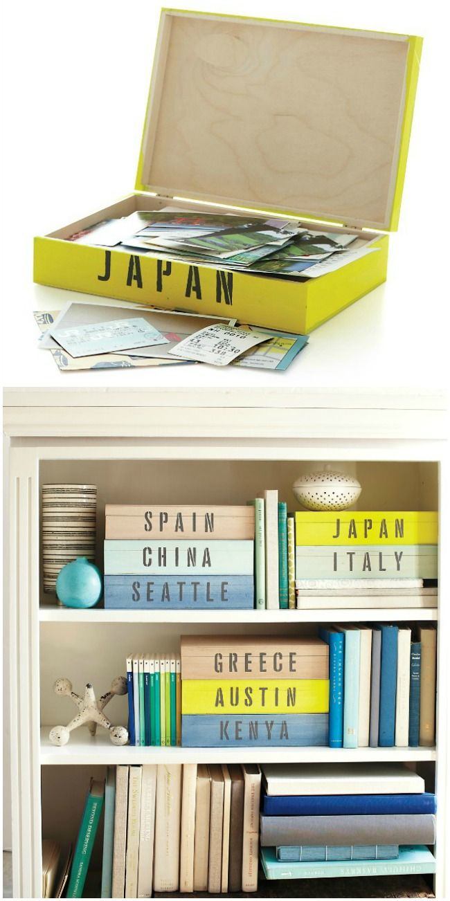 Keep tickets, pictures and other travel memorabilia in crafted Travel Keepsake Boxes - from Martha Stewart Living