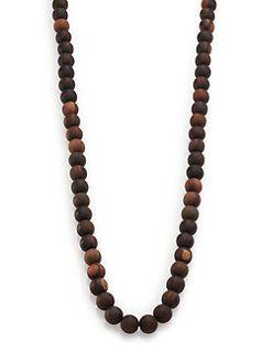 Nest Ebony Wood Long Beaded Necklace yl5mta
