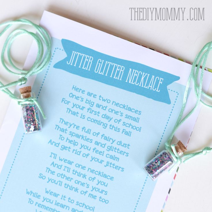 DIY Jitter Glitter Necklace – Back to School Gift + Free Printable  May change the poem but like this idea for my shy kids