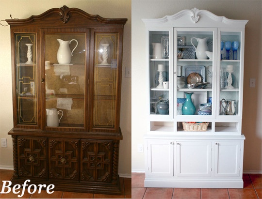 Before & After - China Cabinet (wish they had left the beautifully detailed doors on the piece).