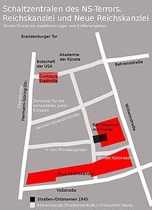 Berlin 1939 Schematischer Lageplan der Neuen Reichskanzlei im heutigen Strassenbild