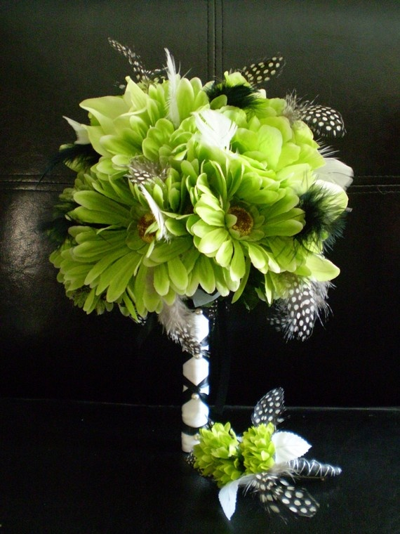 FRESH APPLE Green Wedding Bouquet  With Guinea by Ardesign on Etsy, $105.00