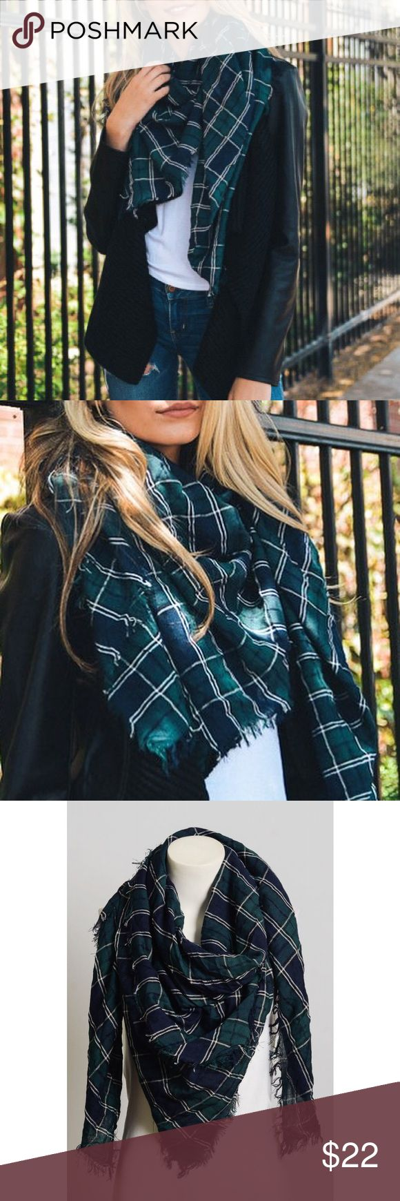 """Crinkled Plaid Scarf Perfect addition to any outfit. Crinkled tartan plaid frayed edge scarf. Made of viscose material. Measurements 57"""" X 57"""" Bchic Accessories Scarves & Wraps"""