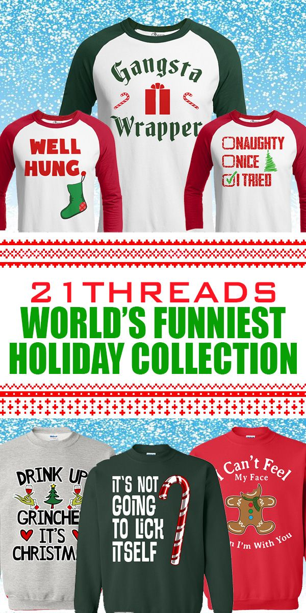 """Voted """"The Worlds Funniest Christmas Apparel""""  21threads.com is your 1 stop shop for the most epic holiday shirts on the planet!  Who wants to wear an old, hot, scratchy ugly christmas  sweater when you can look cool and make a funny statement this holiday season!  Our apparel is perfect for:  Hilarious Family Photos, Christmas Parties, Pub Crawls, Santa Photo Shoots, Christmas Bake Offs any Holiday Occasion!  Over 300 Adult and Kids Designs, Check Us Out Today!"""