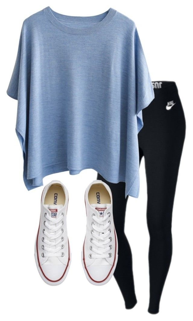 """back to school"" by haileyhoksbergen on Polyvore featuring NIKE and Converse"