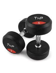 Round Rubber Dumbbells Chrome Solid Cast Iron Coated Pairs - 5Kg Pair - TnP Accessories