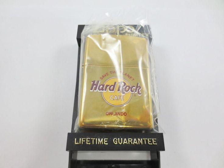 ZIPPO USA Cigarette Lighter New Old Stock w Case HARD ROCK CAFE ORLANDO FL C XIV