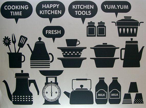 Cucina felice parete grafica vinile di verryberrysticker su Etsy