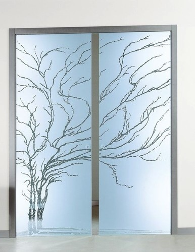 Frosted etched glass pocket doors albero frameless pocket - Contemporary glass doors interior ...