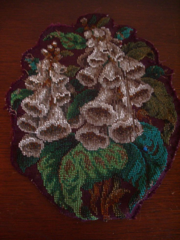 Beautiful Piece Of Antique Hand Made Floral Glass Bead Work Some Damage