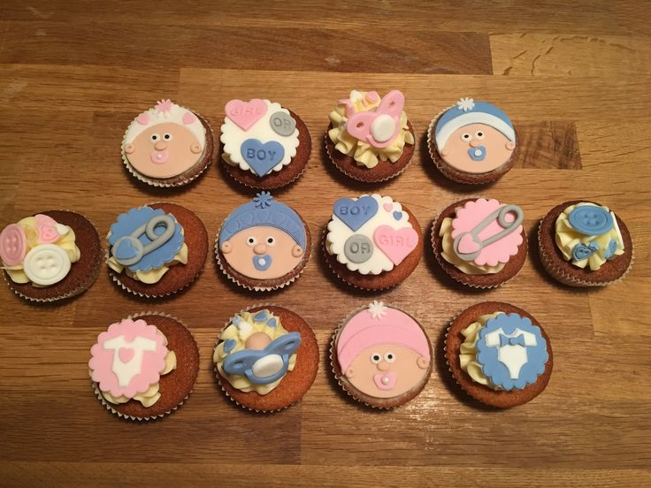 Baby shower cupcakes buttons baby face dummy gender reveal