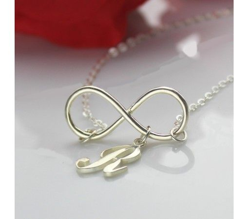 Infinity Style Initial Charm Necklace In Sterling Silver 925