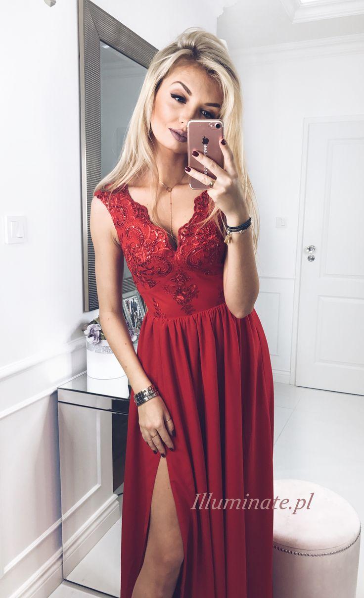 Długa czerwona sukienka Julia. Piekna sukienka na studniówkę. Sukienka uszyta w Polsce, dostępna -> illuminate.pl