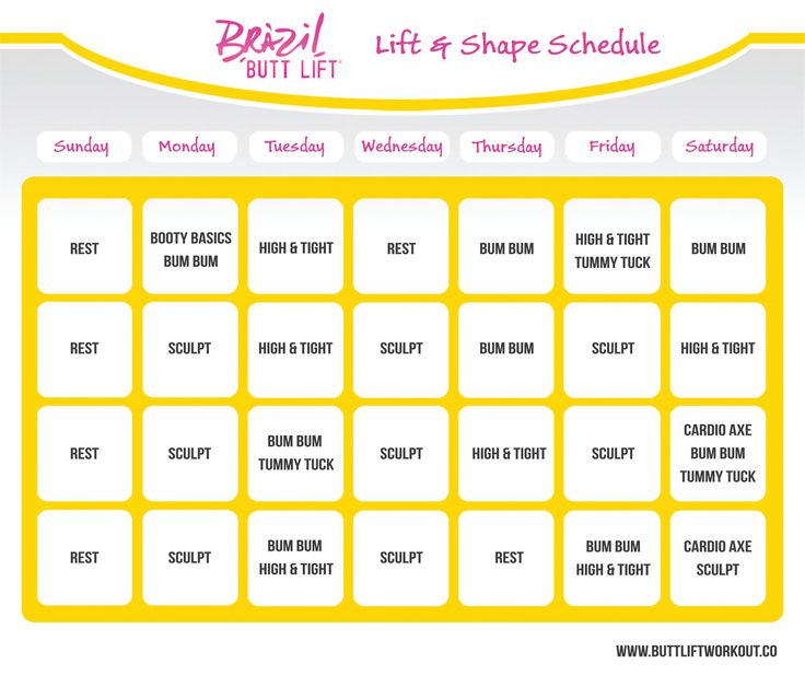 Lift and Shape Schedule