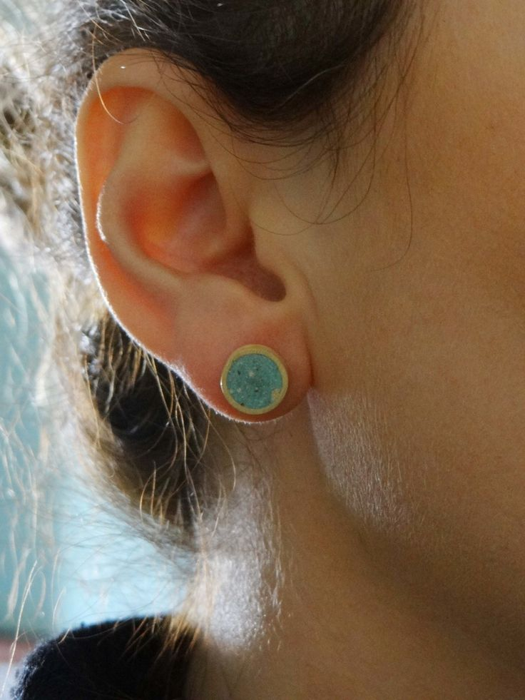 Επίχρυσα σκουλαρίκια κύκλοι με τσιμέντο