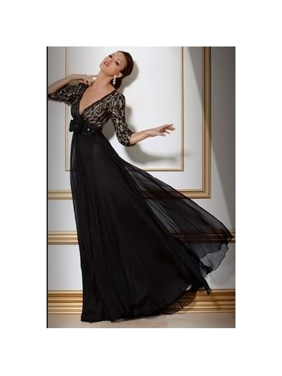 2012 Black Long-sleeves Evening Dress Evening Wear Bridesmaid Formal Gown F10111