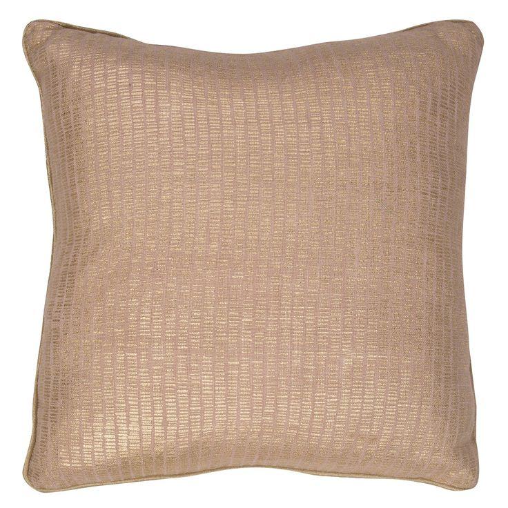 "Beige Metallic Throw Pillow (18""x18"") - Jaipur"