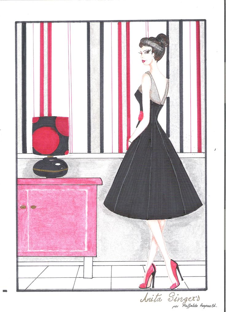 Ilustración Vestido Mercedes. https://www.facebook.com/pages/Anita-Singers/565541916806170#!/pages/Anita-Singers/565541916806170