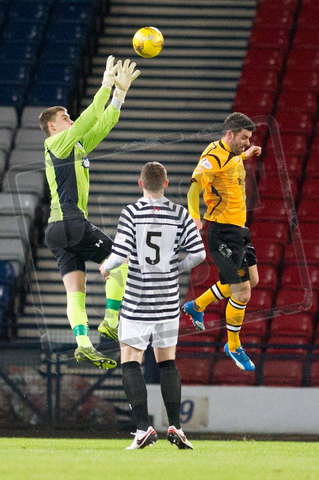 Queen's Park's keeper Wullie Muir gathers the ball during the SPFL League Two game between Queen's Park and Annan Athletic.
