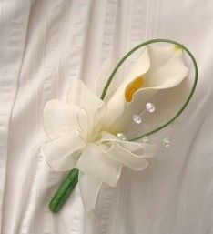 Ivory Artificial Calla Lily Wedding Guest Onhole With Crystals