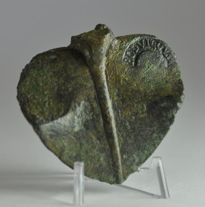 Roman stamp seal, roman makers' name, roman bronze oil lamp lid with inscription, 3rd-4th century A.D. Roman stamp seal, inscribed BODVIGOVS, roman bronze oil lamp with roman makers' name is unusual. Private collection