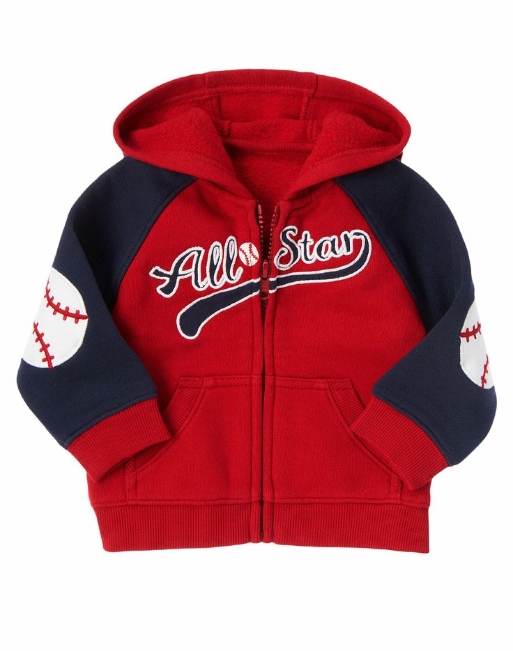 All American baby stays cozy in this fleece-lined, hooded cardigan. Detailed red stitching, 2 front pockets, even baseball patches on the elbows.