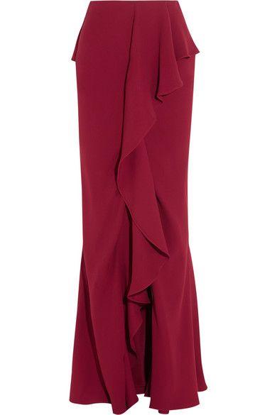 ALEXANDER MCQUEEN Ruffled Silk-Crepe Maxi Skirt. #alexandermcqueen #cloth #skirts