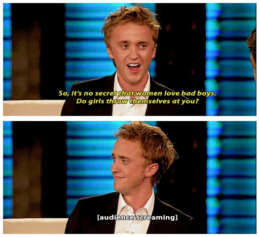 """I love Tom's innocently bewildered expression. He's like, """"Why would they want bad boys? They deserve gentlemen!"""""""