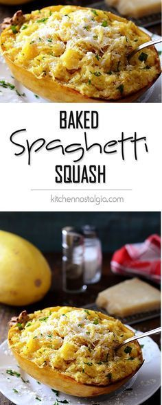 Baked Spaghetti Squash with Butter and Parmesan Cheese - strands of baked spaghetti squash tossed with butter, spices and Parmesan cheese for a quick low-carb indulgence. - http://kitchennostalgia.com