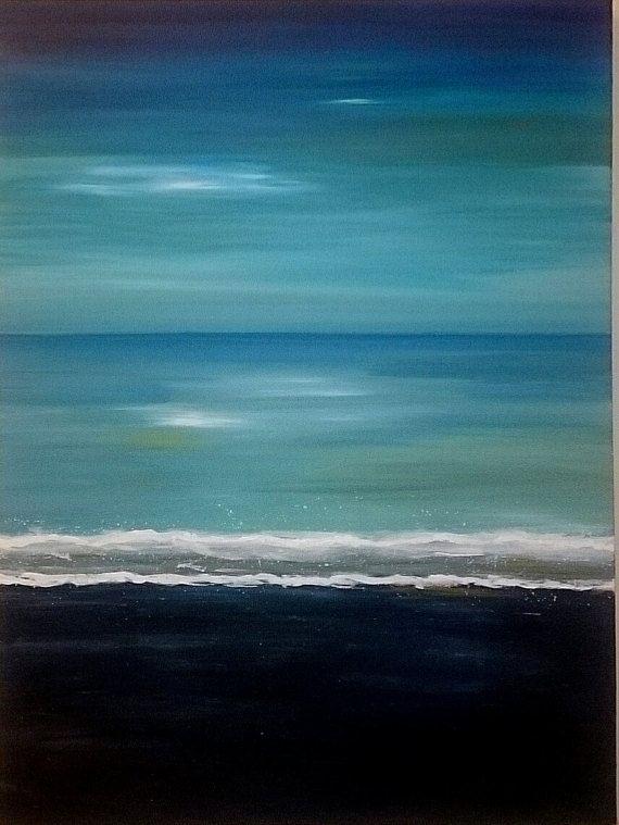 Ocean shore paintingSeascape wall decoWinter