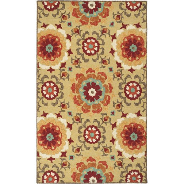Hand Hooked D Indoor Outdoor Fl Medallion Rug Ping Great