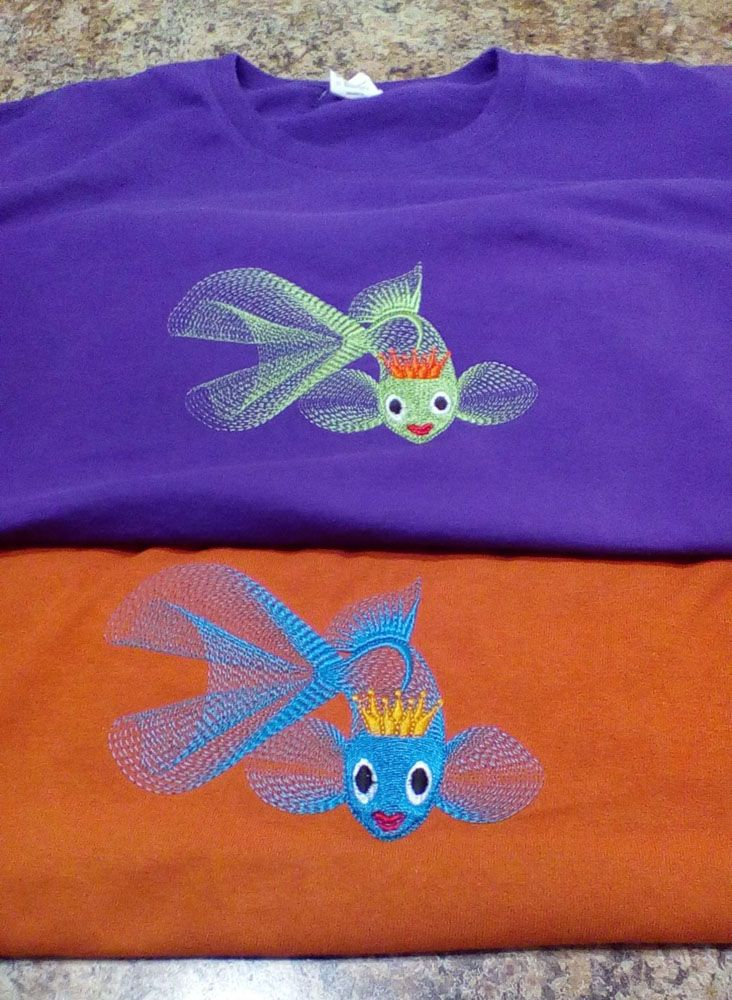 T shirt embroidered with gold fish design - Free ...