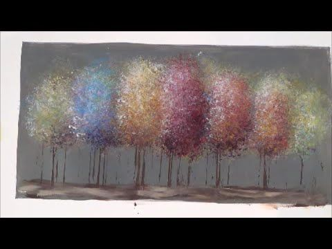 Easy acrylic painting tutorial impressionist trees for How to paint with acrylics for beginners