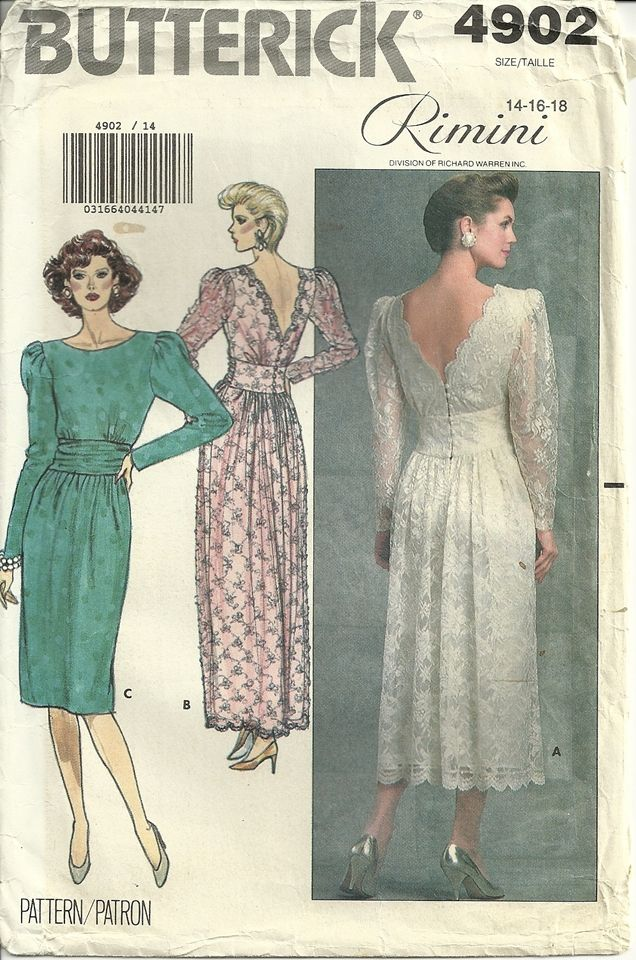 Butterick 4902 Old Style Wedding Dress Gown Vintage Sewing Pattern Size 14