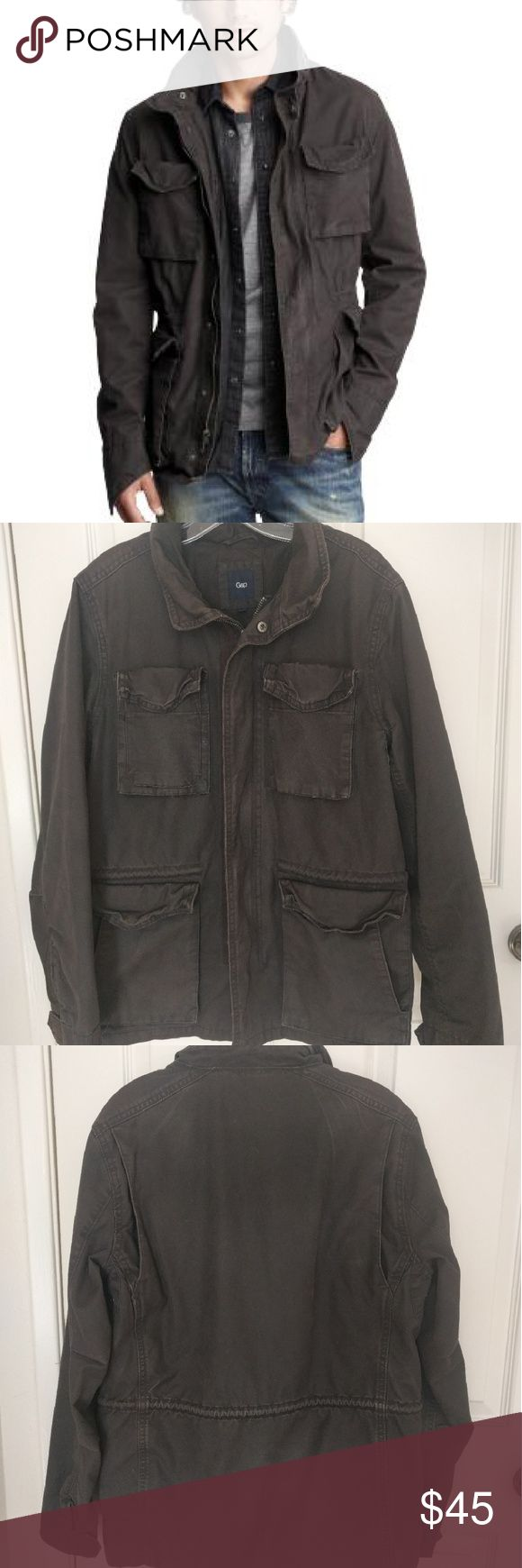 GAP men's charcoal grey utility jacket Dark grey men's cotton canvas utility jacket. Lots of roomy pockets and a hidden collapsible hood in the collar. GAP Jackets & Coats Military & Field