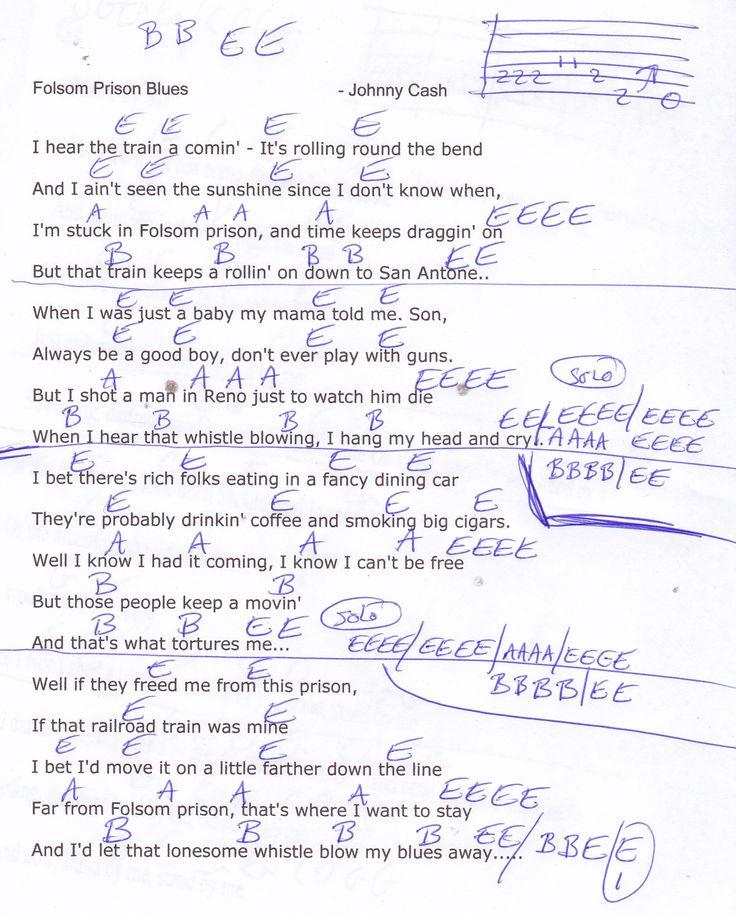 Folsom Prison Blues Johnny Cash Guitar Chord Chart Guitar Stuff