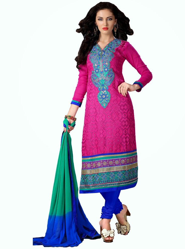 Party Wear Pink and Blue Heavily Embroidered Chanderi Cotton Suit. Comes along with Santoon Bottom and Viscose Dupatta.