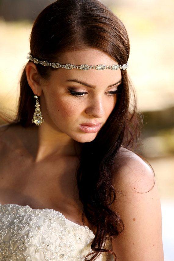 Rhinestone Headband Grecian Headpiece Wedding Hair by Tatishotties, $50.00