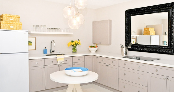 Fia Interiors designed this kitchen for a pint-sized bachelor pad. That's right! All this in a space less than 300 s.f. See more at www.fiainteriors.com (midtown pied-à-terre).