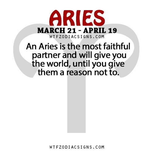 An Aries is the most faithful partner and will give you the world, until you give them a reason not to.   - WTF Zodiac Signs Daily Horoscope!