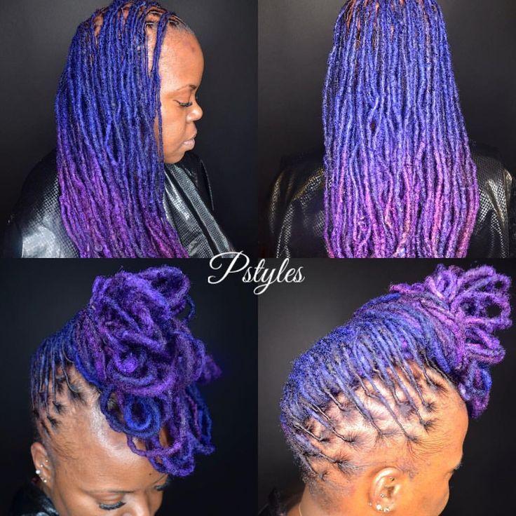 Ombré Violet-Indigo Dyed Locs