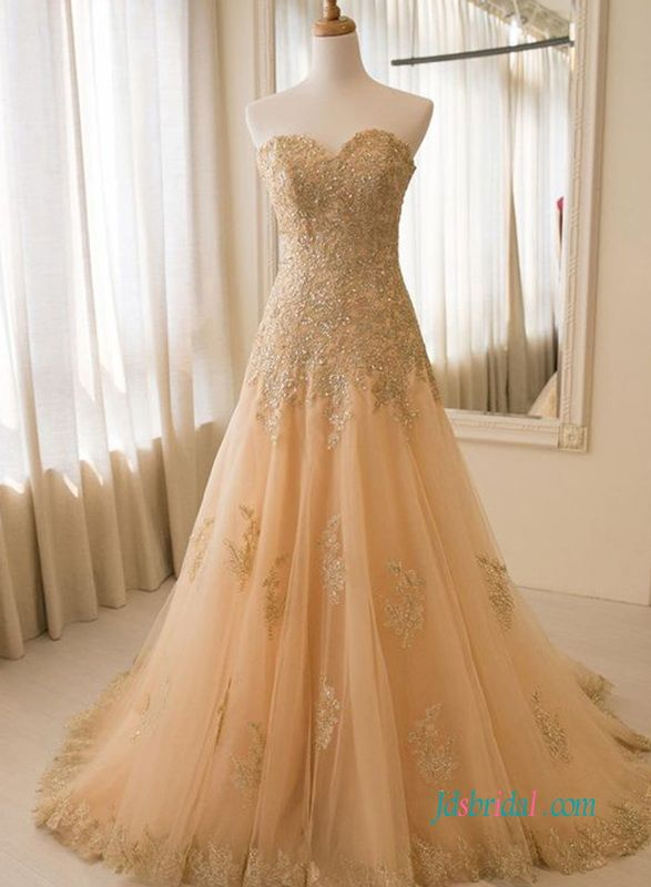 Stunning golden lace tulle a line wedding dresses