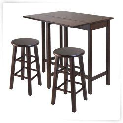 Winsome Lynnwood 3-Piece Drop Leaf Island Dining Table Set