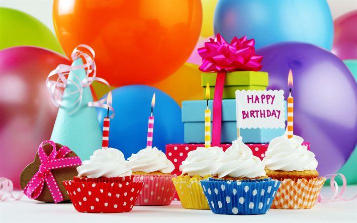 壁紙をダウンロードする 誕生日カップケーキ, キャンドル, インフレータブルボール, お誕生日おめで, ケーキ