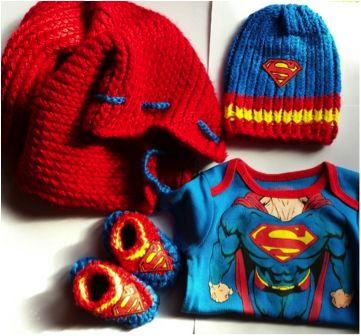 Loom Knit Superman Cape, Hat and Booties Looming Pinterest Superhero ca...