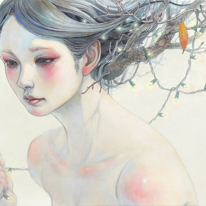 Delicate Japanese Oil Paintings of Ethereal Woman Submerged with Nature - My Modern Met